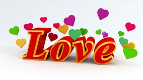 Love. 3d text with heart symbols, red and colorful royalty free illustration