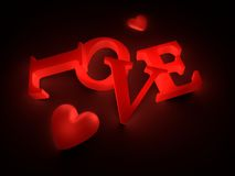 Love 3D text. Love 3D letter placed on the ground emitting a red light with two hearts Stock Photos