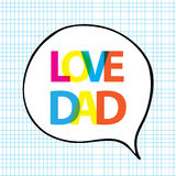 Love dad in bubble shape. On blue grid background Royalty Free Stock Photo