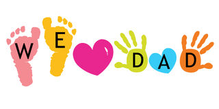 We Love Dad. Happy Father's day card. Baby foot prints vector background. We Love Dad. Happy Father's day card. Baby foot prints vector Stock Images