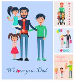 We Love Dad Banner of Man with Three Children Royalty Free Stock Images