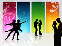 Love dance. Couple is dancing in front of a high window Royalty Free Stock Photo