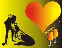 Love date. Party - girl heart and wine glasses -  illustration Royalty Free Stock Images
