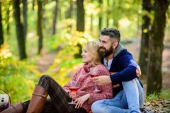 Love date and romance. Spring mood. camping and hiking. cheers. couple in love relax in autumn forest. Family picnic. Valentines day. happy women and bearded stock image