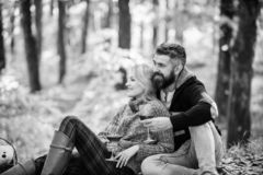 Love date and romance. Spring mood. camping and hiking. cheers. couple in love relax in autumn forest. Family picnic. Valentines day. happy women and bearded royalty free stock photos