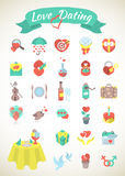 Love and Dating Flat Icons Stock Images