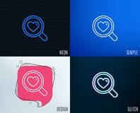 Love dating line icon. Search relationships. Glitch, Neon effect. Love dating line icon. Search relationships sign. Valentines day symbol. Trendy flat geometric Stock Photos