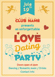 Love dating party flyer. Template for a dating event or any other love party Stock Photos