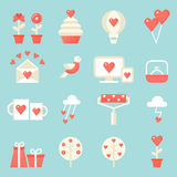 Love, Dating, Relations Icons Set. St. Valentine's Day Royalty Free Stock Photo