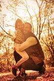Love of daughter and dad is the strongest. Happy father and her daughter enjoying in park and hugging royalty free stock photos