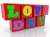 Love day concept on toy cubes. In backgrounds Stock Photos