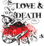 Love & Death. Grunge angular vignette with two guns and and by inscription  Love & Death Stock Images