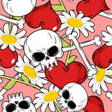 Love and death seamless pattern. Red heart and skull. Background Stock Image