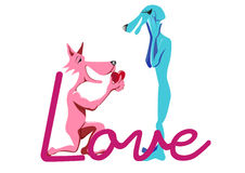 Love declaration of dogs Royalty Free Stock Images