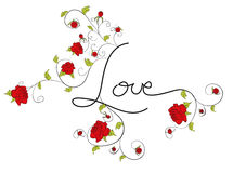 Love with decorative roses flowers Royalty Free Stock Images