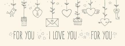 Love decorative vintage elements on white background. Hand drawn collection with heart, wings, branch with leaves, bird Stock Photo