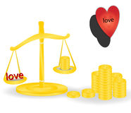Love defeat money Royalty Free Stock Images