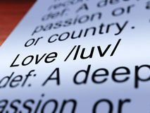 Love Definition Closeup Showing Affection Stock Images