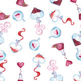 Love della Witch Watercolor pattern to the day of lovers Stock Photo