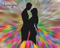 Love design on colorful background. Love image. Love design, woman and man on colorful abstract background. Vivid love abstract background. Romantic illustration royalty free illustration