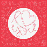 Love design over red background with icons for Valentine`s day Royalty Free Stock Photos