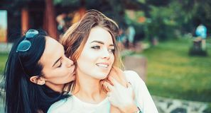Love and desire. Lesbian couple in love. Lesbian women with sensual look. Loving couple of lesbian lovers kissing. Women in tic relationship. Lesbian royalty free stock photography