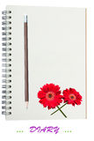 Love Diary. Note Book Diary Included Pencil And Beautiful Chrysanthemum Flower Stock Photo