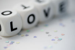 Love, dice letters Stock Image