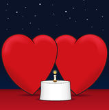 Love and dinner. Hearts sharing time over candlelight - for any declerations of love - also a vector based illustation Stock Image
