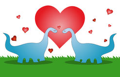 Love dinosaur, valentines card. Two lover dinosaur with red heart on the background Stock Image