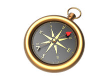 Love Direction. Render of a golden compass showing the direction to love isolated on a white background Royalty Free Stock Photo