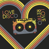 Love Disco, Love Retro. Vintage poster design template, vector, EPS10 Stock Photography
