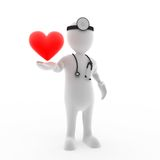 The Love Doctor. 3D character holding a heart Stock Image