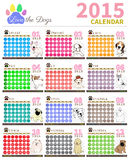 Love the dog Calendar 2015 set1. The dog cute in calendar on colourful background vector illustration