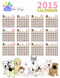 Love the dog Calendar 2015 set2. The dog cute in calendar on white background Royalty Free Stock Photos