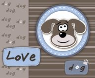 Love dog card in blue and brown Royalty Free Stock Image