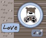 Love dog card in scrapbook style Royalty Free Stock Image