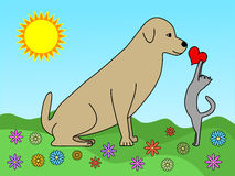 Love between dog and cat. Love between cats and dogs is possible! Illustration of a cat giving a red heart to a dog on a bright spring day Royalty Free Stock Photos