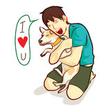 Love dog hug. Human hug dog with love cartoon vector Stock Photo
