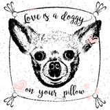Love is a doggy on your pillow. Royalty Free Stock Photography