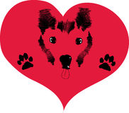 Love dogs. Icon depicting the love of house pets Royalty Free Stock Images
