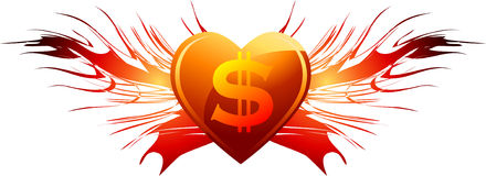 Love of dollars sign. Illustration of dollars symbol on burning red love heart with flames, isolated on white background Stock Images