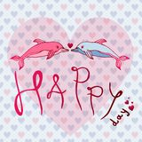 Love dolphins, concept Love, Happy Day. Greeting card or postcard vector illustration Royalty Free Stock Photo