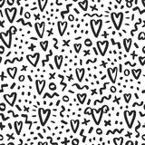 Love doodle background with hearts. Vector hand drawn grunge background Stock Photo