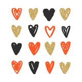 Love doodle background with hearts. Vector hand drawn grunge background Royalty Free Stock Images
