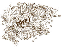 Love Doodle: Hand drawn love doodle poster Royalty Free Stock Image