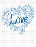 Love doodle hand drawn in the school notebook. Vector image. Love doodle hand drawn in the school notebook Royalty Free Stock Photography