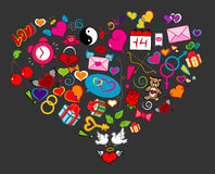 Love Doodle Heart on Gray Background Royalty Free Stock Photography