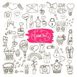 Love doodle icons. Sef of love doodle icons vector illustration isolated Royalty Free Stock Images