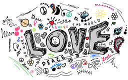 Love doodle sketch, vector set Royalty Free Stock Photography